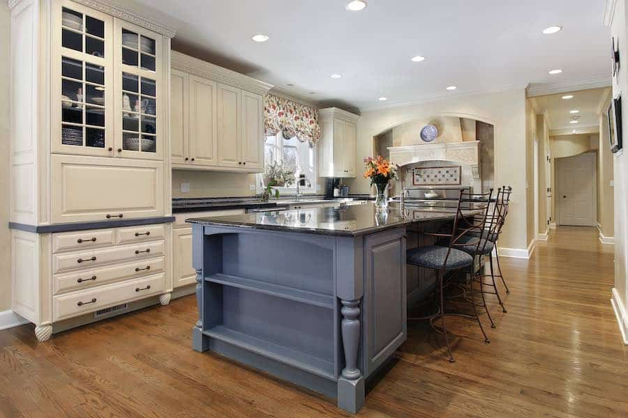 Painted Kitchen Cabinets with Grey Center Island