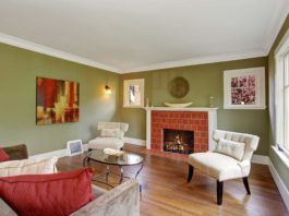 Olive Room With Painted Trim