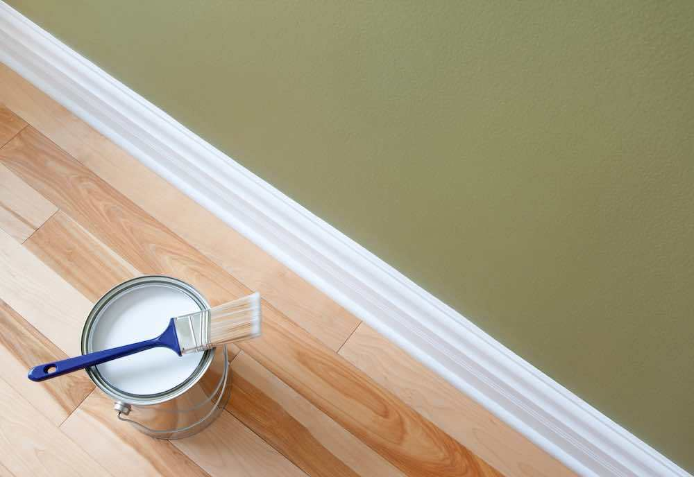 Paint Brush And Painted Trim