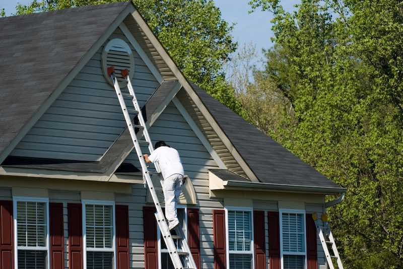 Exterior Painting on an Extension Ladder