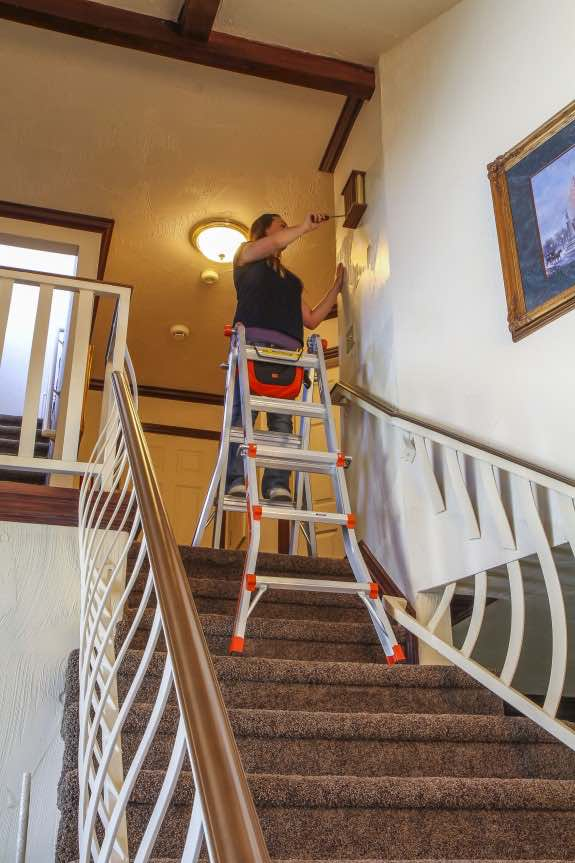 Little Giant Ladder used on the stairs of a home.