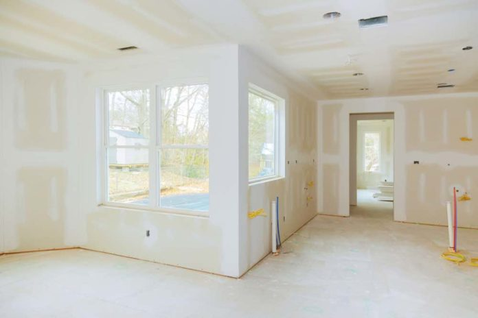New drywall in home remodel