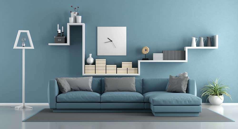 Blue living room with sofa and shelf