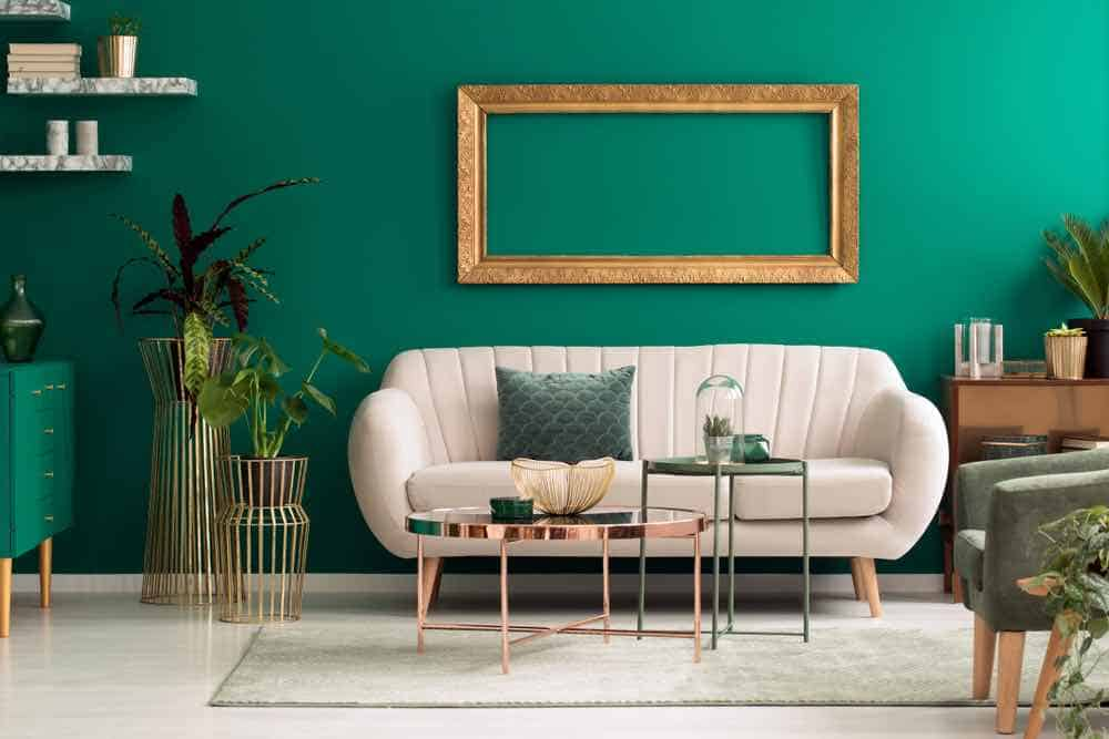 Green Living Room with Tan Couch