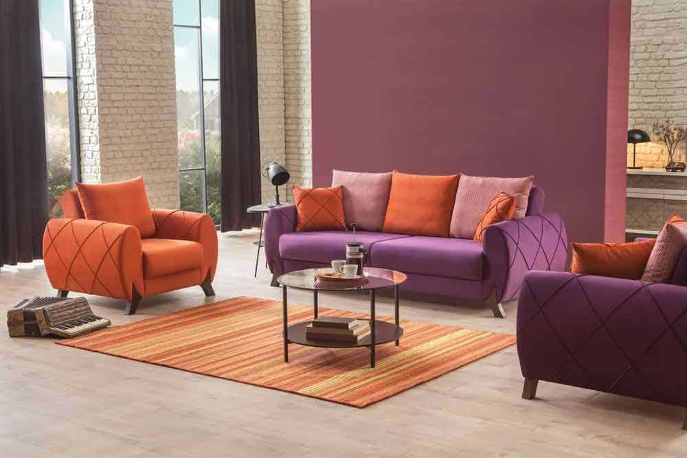 Purple sofa in modern living room