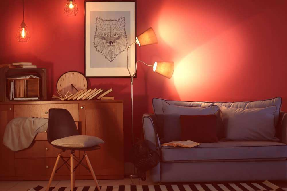 Modern red living room with lamp