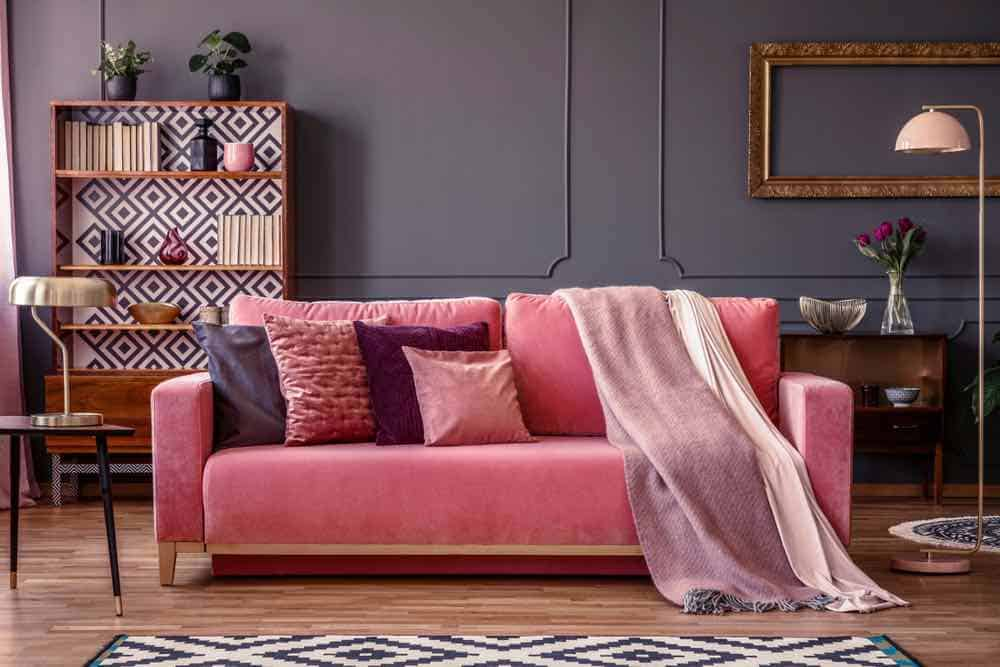 Dark Grey Living Room With Pink Sofa