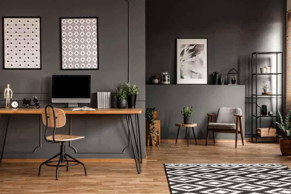 Dark Grey Living Room with Wooden Floors