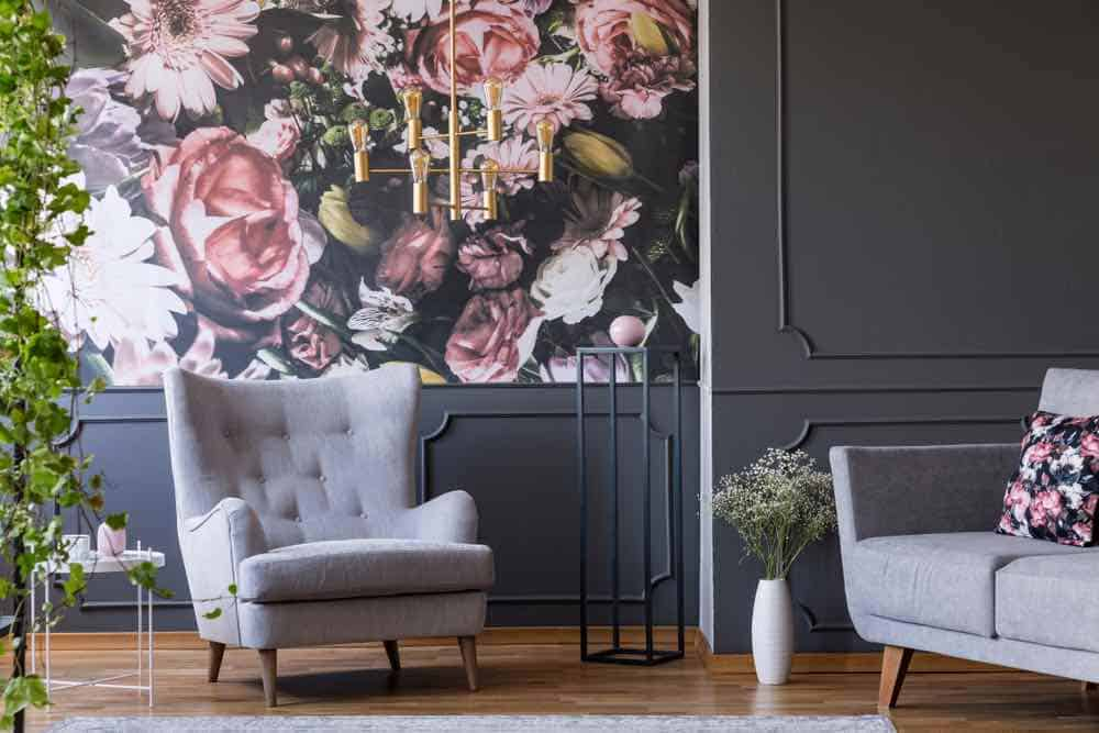 Dark grey room with flower pattern accent wall
