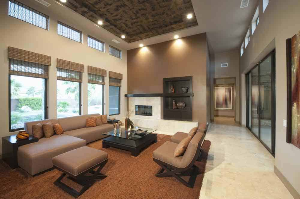 Modern Living Room Painted With Shades of Brown