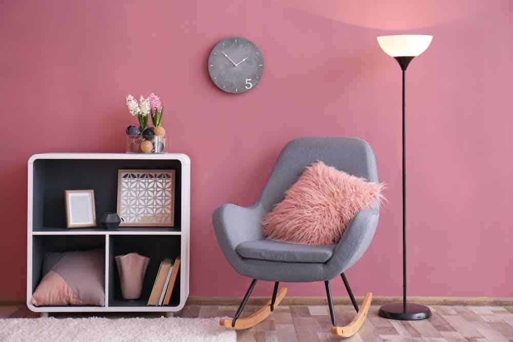 Pink room with rocking chair