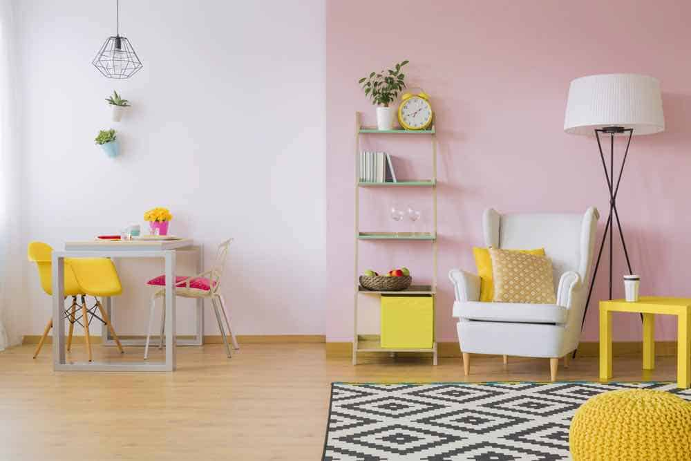 pink living room with yellow accents