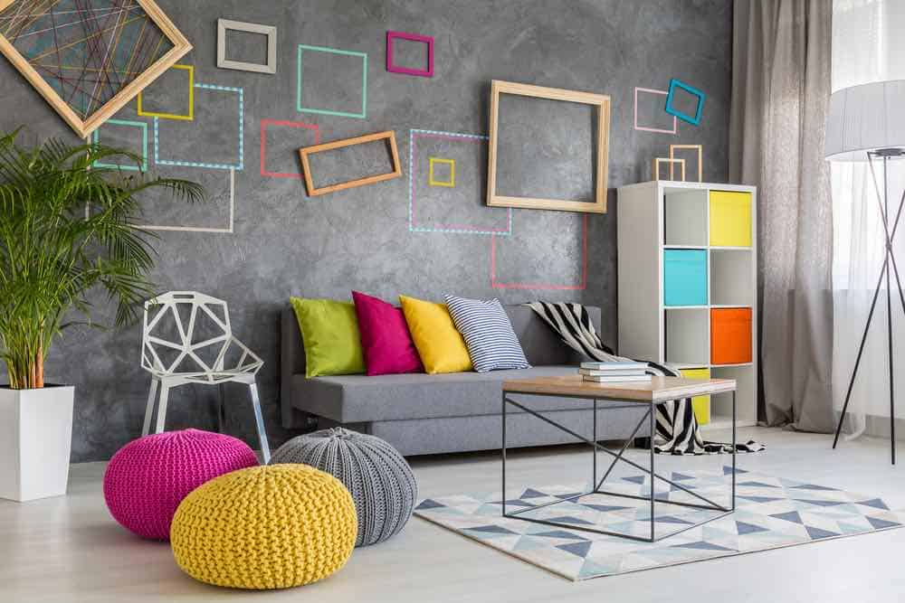 textured wall with colorful accents