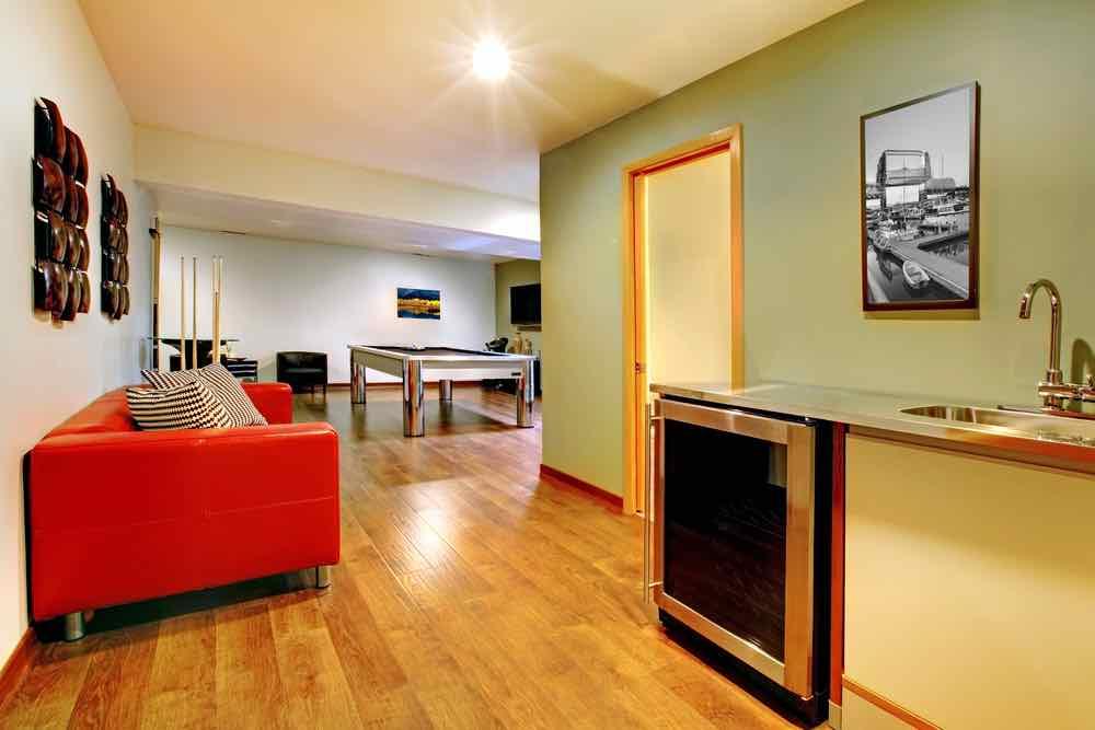 Olive Green Basement Room