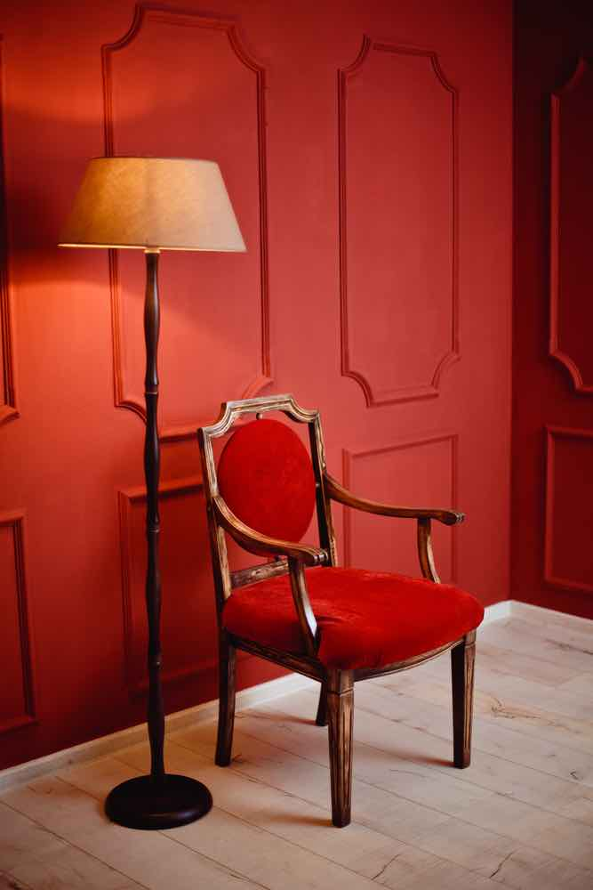 Red interior with red arm chair