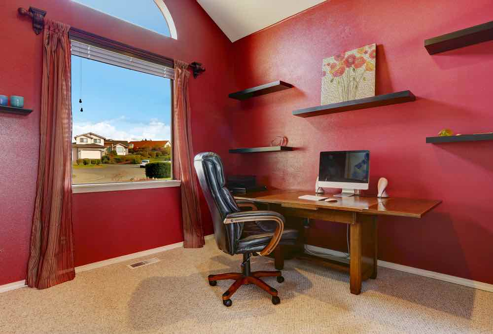 Home Office painted red