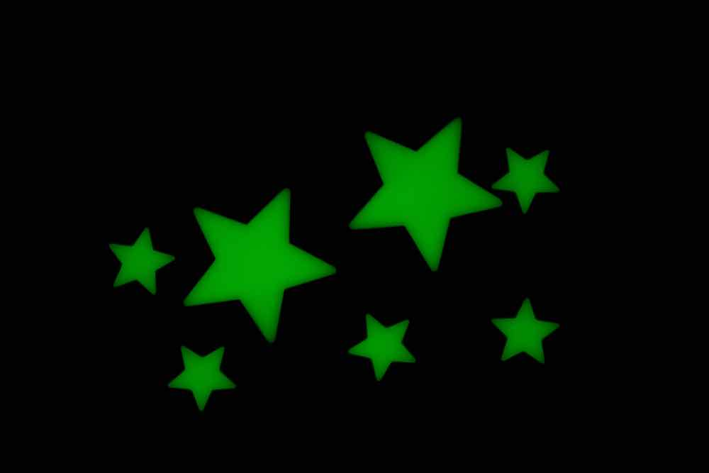 Glow in the dark stars on a ceiling