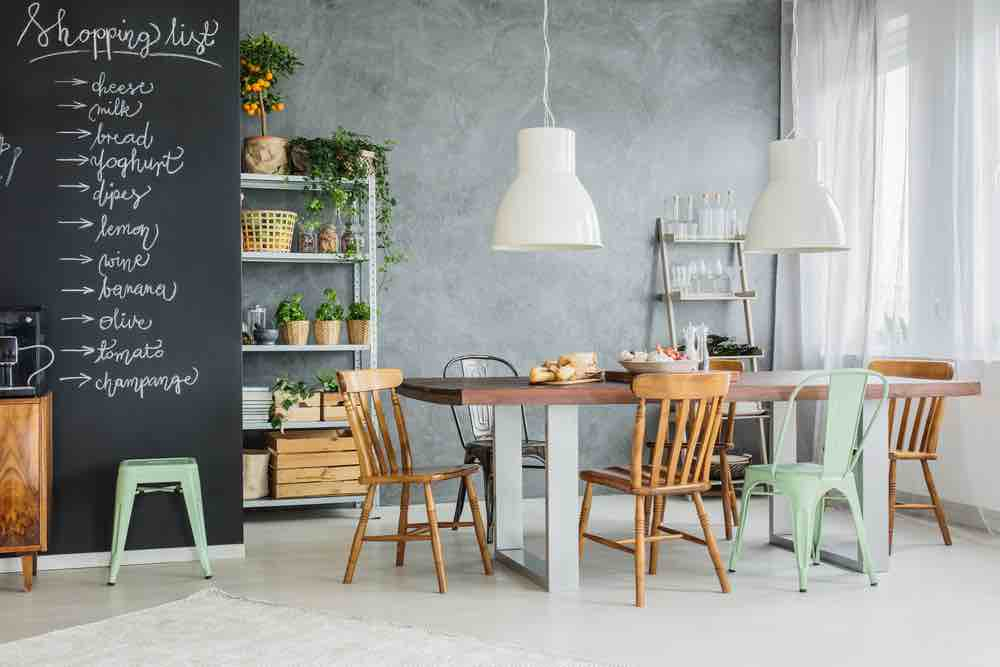Chalkboard paint is a cute accent kitchen paint color in any home.