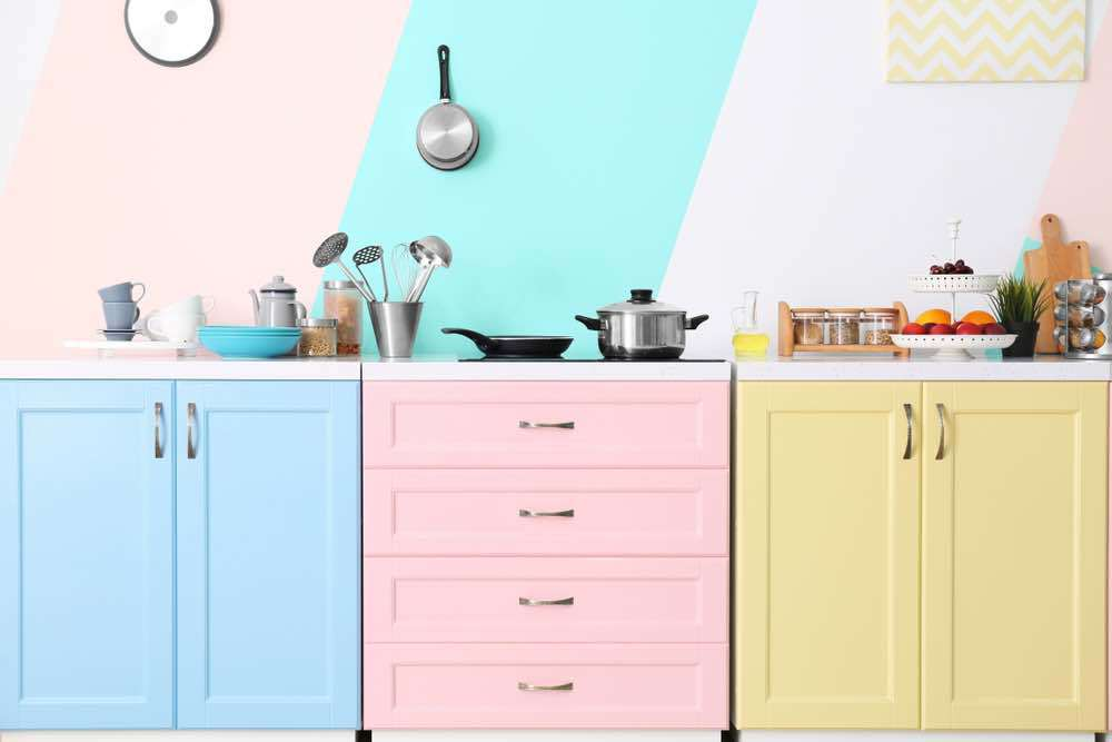 Try patterns with pastels for a unique kitchen paint color.