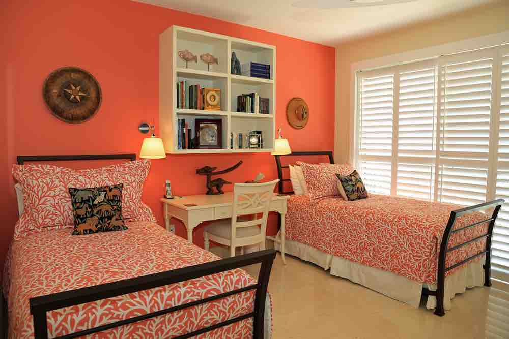 Express yourself with coral for your bedroom paint color.