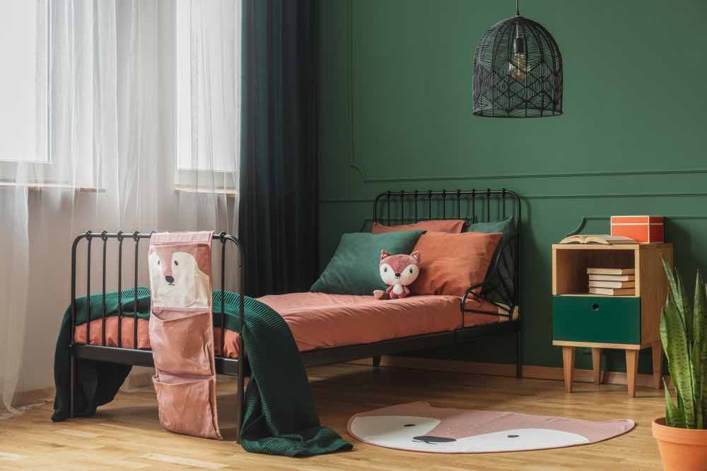 Even jewel tones can be whimsical, like this emerald green with a fox theme.