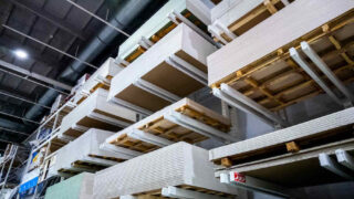 shelving with drywall panels at home improvement store